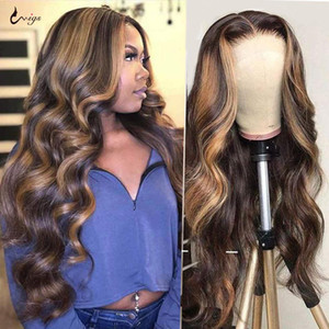 Highlight Brazilian Body Wave Burgundy 99j Lace Front Wig 1B 27 Ombre Human Hair Wig 180 Density Remy Wigs