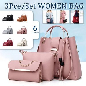 Women's Three Piece Set Tassel Handbag Simple Tassel Pendant Mother Bag Shoulder Crossbody Bag Trendy Women Bags Wallet Gift