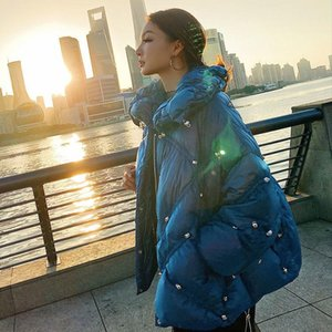 2021 New Arrival Autumn Winter Women Solid White Duck Down Beading Coats Ladies Thick Warm Duck Down Loose Jackets Parkas Z328