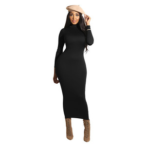 Hot Sale Women Dress Womens Sexy High Neck Dress Solid Color Slim Wrap Hip Skirt Women Casual Long Fashion Dresses Trendy Style