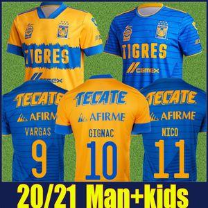 2020 멕시코 UANL TIGRES 축구 유니폼 7 별 C.SALCEDO Gignac Vargas Pizarro Football Jersey Kids Kit Camiseta de Tigres Uanl 20/21 Liga MX