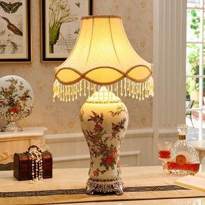 Ceramic table lamp living room lamp bedside American French retro decorative table living room ornaments1