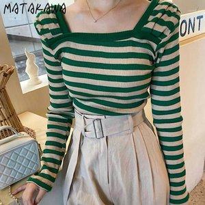 Matakawa Green Striped Woman Sweers Square Cuello Slim Sweaters Korea Chic Otoño de manga larga Pullovers1