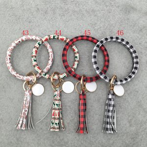 PU Leather Bracelet Keychain Women Fashion Leopard Bufflao Plaid Wristlet Keychain tassel Bangle Keychain Wristband Key Ring OOA7366