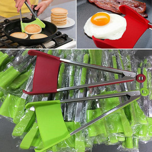 Clever Spatula Tong Kitchen Spatula Tongs Non-stick Heat Resistant Food Clip Grip Stainless Steel Accessories WQ211