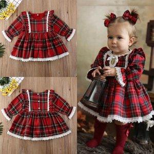 Toddler Kid Baby Girls Christmas Plaid Dress Xmas Pageant Party Princess Lace Tutu Dress F1202