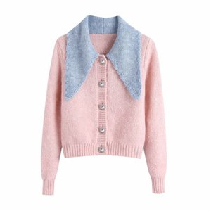 Evfer Autumn Cute Lady Patchwork Turn-Down Collar Za Pink Knitted Cardigans Women Fashion Jewelry Button Long Sleeve Sweaters Z1123