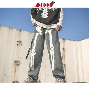 Men Skeleton Oversized Black Jeans Pants 2019 Denim Mens Streetwear Hip Hop Harem Pants High Wasit Denim Overalls
