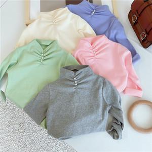 Ins Küçük Kızlar Yeni Modası Kızlar Uzun Kollu Katı Kız Kore Inci Tasarım T Gömlek Çocuklar Uzun Kollu Alt Tops 1-7 T M3184 için
