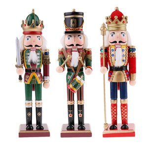 30cm Wooden Nutcracker games Figurines Christmas Ornaments Decoration Dolls Colorful Hand Painted Vintage Design Desk Decor