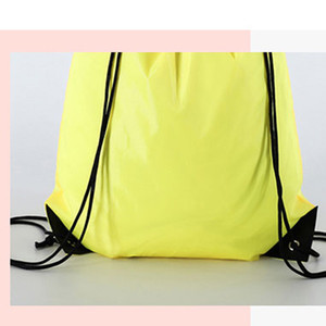 Creative Portable Drawstring Backpack Solid Color Sports Fashion String Folding Drawstring Bags D210 Polyester Storage Handle Bags PPD3408
