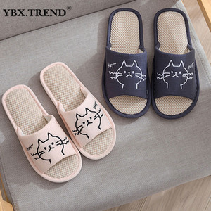 Women's Slippers Cartoon Cat Ladies Indoor Shoes Female Slipper Linen Sole Winter Home Footwear For Woman Comfort Fashion 2021 201130