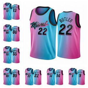 МайамиВысокая температураМужчины Джимми Батлер Бэм Адебайо Келли Олиньк Синий Выбор ГородНБА вице-2020-21 пользовательских баскетбола Джерси