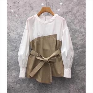 South Korea 2019 autumn new womens personality stitching fake two long sleeved shirt Han Fan loose waist shirt tide