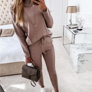 Sweatshirt High Neck For Women Long Sleeve Pocket Pants Casual 2 Piece Set Ladies Solid Color Sweatpants Fitness Sweatsuit