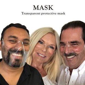 DHL Transparent protective mask Durable Cycling Mask Face Shield Combine Plastic Reusable Transparent Clear Face Mask Bandage FWA2589