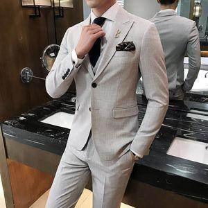 Formal Wear Wedding Dress Suits High Quality Men Elastic Slim Suits Blazer Jackets+Pants+Vest Men Light Blue Casual