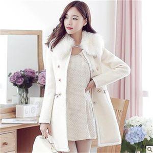 Корейский женский qiu донг раздел Новая длинная длинная шерстяная шерстяная шерстяное пальто 78cb