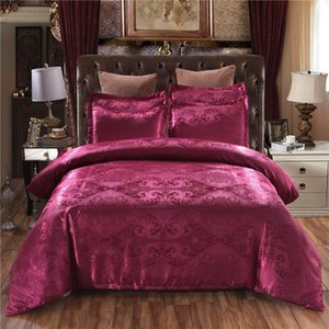 100% Quality King Size Bed Set Red Jacquard Marry Wedding Bedding Set for Double Luxury high-grade Home Textile with Zipper Hot