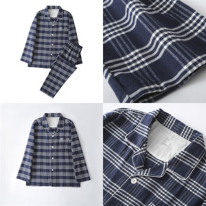 846 Clothes Daughter Christams Family Matching Mother MUJI Father Sleeve Plaid MUJI-style Long and Me Xmas Casual Pajamas Outfits Set