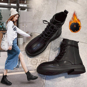 Flat Heel Lace Up Lady Boots Brand Women's Shoes Boots-Women Round Toe Winter Footwear Fashion Rubber Rock Med 2021 Autumn