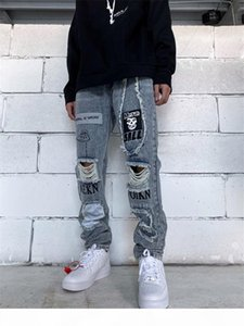 Spring Mens Patch Hole Jeans Letter Printed Applique Fashion Male Trousers Reflective Zipper Fly Solid Boys Streetwears
