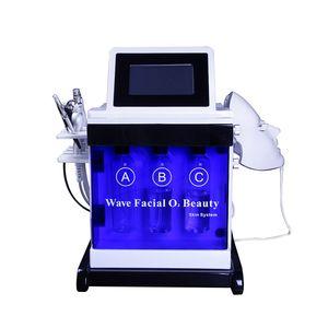 Portable Hydradermabrasion Skin Rejuvenation Equipment White Blue Black Case Spray Mist Gun RF Led Mask with CE
