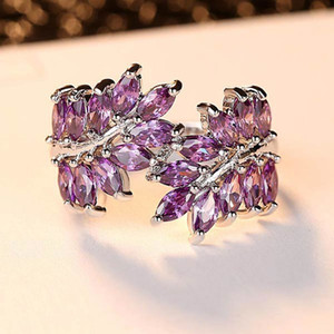 Exquisite Purple Zircon Leaves Rings For Women Shiny Fashion Silver Color Ring Valentine Day Accessories Charm Female Decotions
