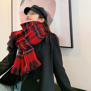 Brand 2020 Red Plaid Winter Cashmere Scarf Women Thick Warm Shawls And Wraps Hijab Printed Blanket Cape Bandana Hijab