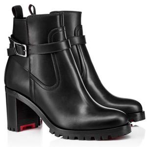 Design Karistrap Chunky Heels Femme Femme Bottines Boots Boots Bottines d'hiver Butin de luxe Designer de luxe Semelle rouge Sole butin avec boîte