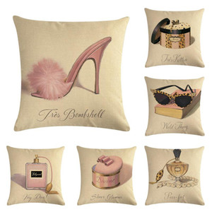 Perfume Bottle Heels Decorative Throw Pillow Cover Cotton Linen Pillow Cases Square Cushion Cover for Sofa Couch Car Bedroom