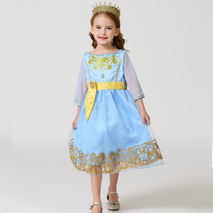 2020 Newest Girls Dresses Spring Summer Casual Girls Clothes Lace Flower Design Baby Girls Princess Dress For Party Birthday