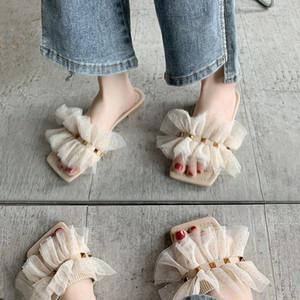 sexy sandals women scuffs new design Korean trend rivet flowers flounce fairy flat open toe slippers for women elegant girl summer slippers