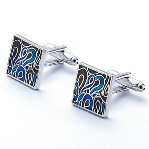 olowu Classic Tuxedo Shirt Cufflinks for Men Unique Elegant Style Blue Cloisonne Enamel Cuff Link Business Wedding
