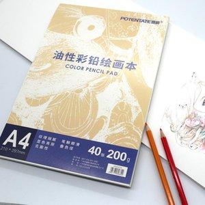 Poucau à aquarelle Poucau à aquarelle / Plaque de crayon à l'huile 200 / GSM Sketchbook livre de dessin de carnet de charme peint à la main pour l'étudiant de l'artiste
