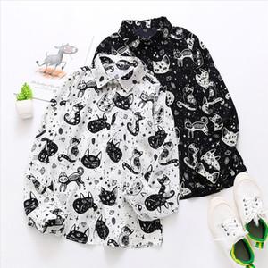 Woman shirt autumn fashion long sleeved art cat print shirt casual loose wild small fresh temperament student ropa mujer 30*