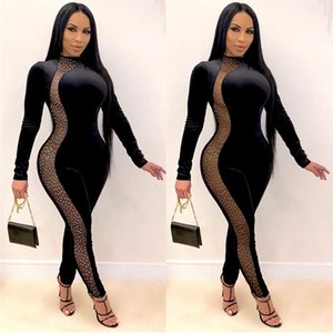 Sexy with Rhinestone Womens Skinny Rompers Casual Soild Color Womens Long Sleeve Fashion Crew Neck Jumpsuits