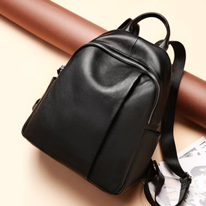 2020 Luxury Backpack for Women Designer Daily Bagpack High Quality Cowhide Leather Female Laptop Girl Schoolbag Travel Bag Black