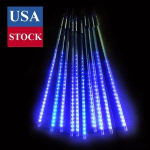 유성 샤워 비 조명, 떨어지는 빗방울 요정 문자열 빛, 50cm 10 튜브 480 LED 고드름 조명 할로윈 크리스마스 휴일 야외