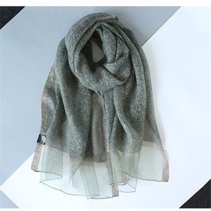 Scarf female autumn and winter Korean version of all-match bright silk edge solid color silk wool shawl scarf mulberry silk scarf spring and