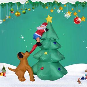 Восхождение дерево фестиваль ночь собака бит орнамент партии большой домашний декор сад рождественские легкие надувные модели светодиодный санта-клаус1