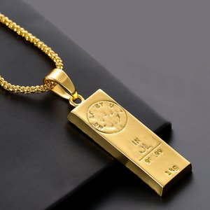 Hot Sale Long Gold Bar Necklaces Stainless Steel Long Square Bar Engraving Pendant Chokers Necklace Men Women Jewelry Summer Gift
