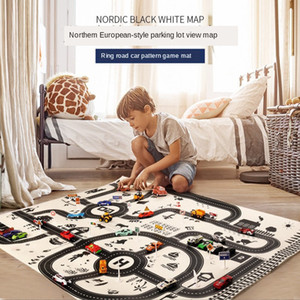 Baby Play Mat Ring Road Car Pattern Game Mats Foldable Decorative crawling blanket Square Floor Carpet Nordic Baby Room Decor LJ201113