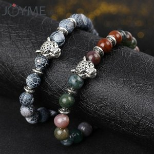 Natural Stone Beaded Bracelets for Men Leopard Head Bracelet & Bangles with Lava Lion Charm Women Wristband Pulseras Hombre