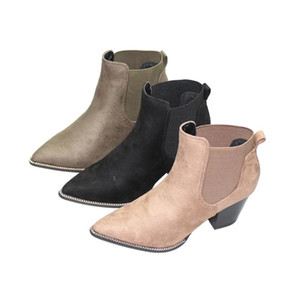 Women Shoes New 2020 Fashion Pointed Toe High Square Heel Woman Ankle Boots Cool Hoof Heels Motorcycle Style Riding Equestrian