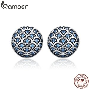 BAMOER Genuine 100% 925 Sterling Silver Legend Of The Sea Clear CZ Small Stud Earrings for Women Sterling Silver Jewelry LJ200907