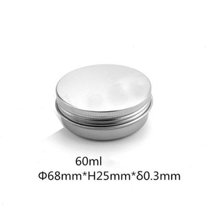 60ml Aluminum Jars Lip Balm jar 60g Cosmetic Container Silver Cream Container Tins bottle Free Shipping Z600