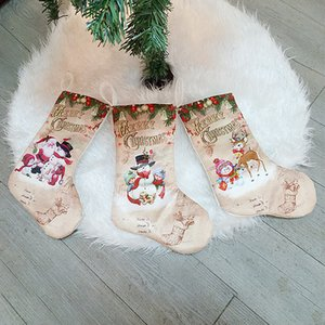 Creative Christmas Stockings Socks Santa Claus Snowman Elck Christmas Tree Ornaments Home Party Decoration Children Candy Bags Gifts WQ553