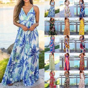 2020 New Spring Summer Women Boho Floral Printed Dress Fashion Ladies Sleeveless Party Evening Long Maxi Dress V neck Vestidos