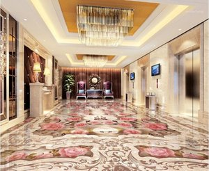 [Autoadesivo] 3D Floor Tile Flower 102391 Wallpaper Pavimento murale Stampa murale Doppia murales1